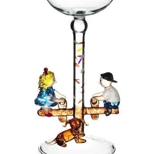 """Бокал для вина из стекла ручной работы. """"Дети на качелях"""" (фото, вид 1)"""