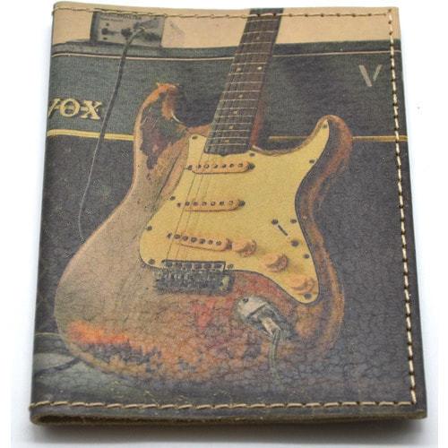 Кожаная обложка на паспорт. Электрогитара (фото, вид 2)