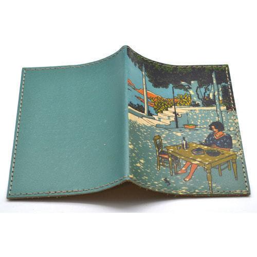 Кожаная обложка на паспорт. Кафе у моря (фото, вид 1)