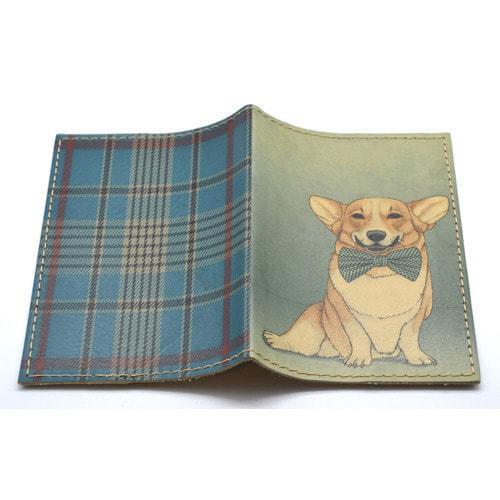 Кожаная обложка на паспорт. Собака с бантом (фото, вид 1)