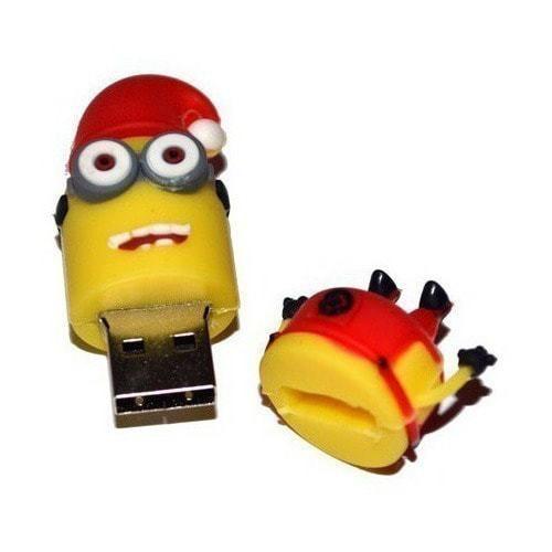 Подарочная флешка. Миньон в рождественской шапке (фото, вид 1)