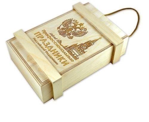 """Подарочный набор в деревянном с фарфоровым штофом """"Календарь 23 февраля"""" (фото, вид 1)"""