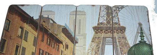 Винтажная деревянная ретро табличка-панно. Париж (40 x 40 см) (фото, вид 2)