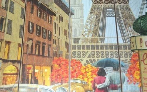 Винтажная деревянная ретро табличка-панно. Париж (40 x 40 см) (фото, вид 3)