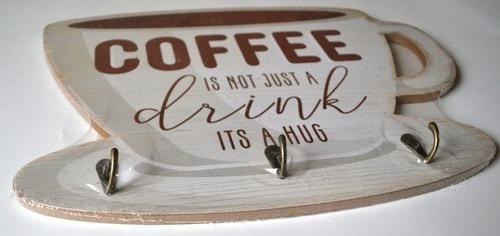 Винтажная деревянная ретро табличка с крючками. Кофе - это не просто напиток (30 x 40 см) (фото, вид 1)