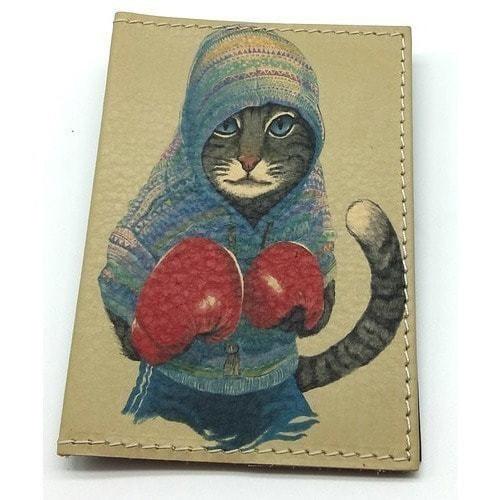 Кожаная обложка на паспорт. Кот-боксер (фото)