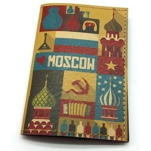 Кожаная обложка на паспорт. Moscow (фото)