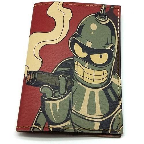 Кожаная обложка на паспорт. Футурама. Робот Блендер (фото)