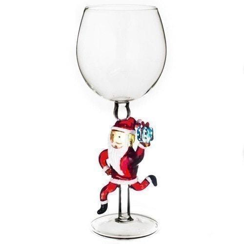 """Бокал для вина из стекла ручной работы. """" Дед Мороз спешит поздравить"""""""