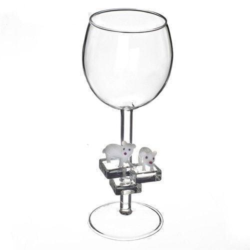 """Бокал для вина из стекла ручной работы. """"Белые медведи"""""""