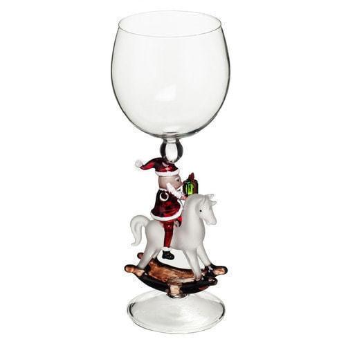 """Бокал для вина из стекла ручной работы. """"Дед Мороз на лошадке"""""""
