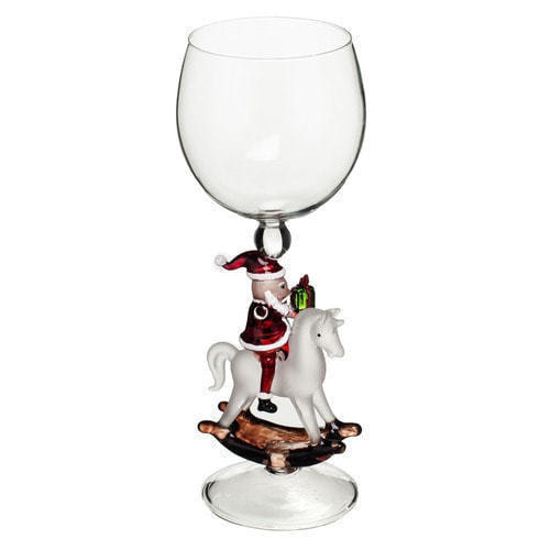 """Бокал для вина из стекла ручной работы. """"Дед Мороз на лошадке"""" (фото)"""