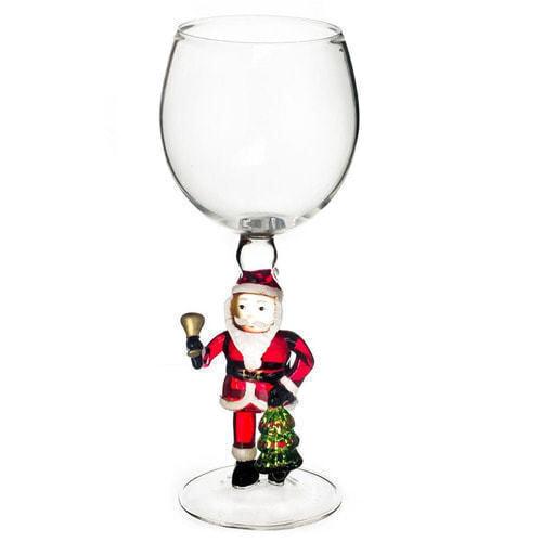 """Бокал для вина из стекла ручной работы. """"Дед Мороз с колокольчиком"""""""