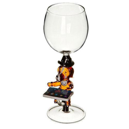 """Бокал для вина из стекла ручной работы. """"Собака с планшетом"""""""