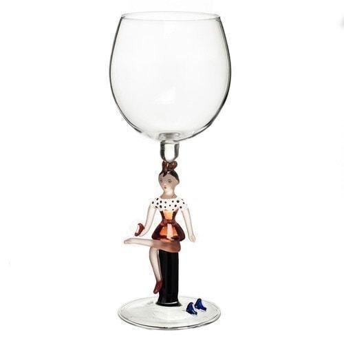 """Бокал для вина из стекла ручной работы. """"Туфель много не бывает"""""""