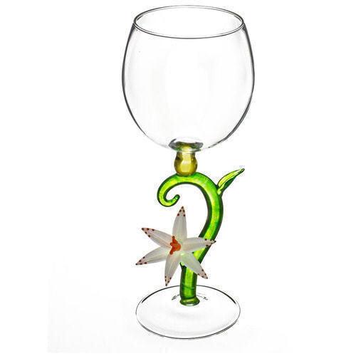 """Бокал для вина из стекла ручной работы. """"Утренний цветок белый"""""""