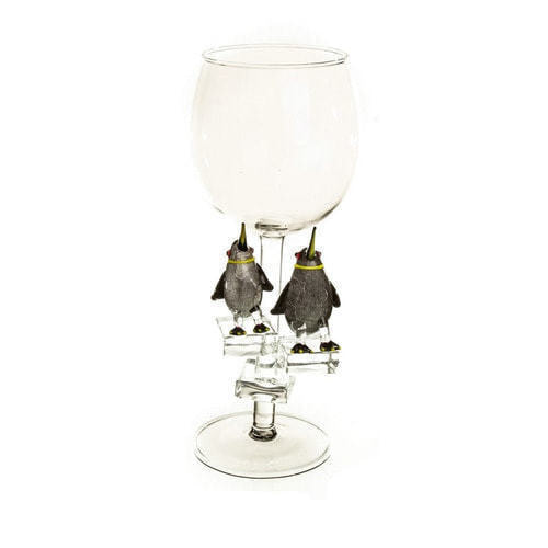 """Бокал для вина из стекла ручной работы. """"Королевские пингвины"""""""
