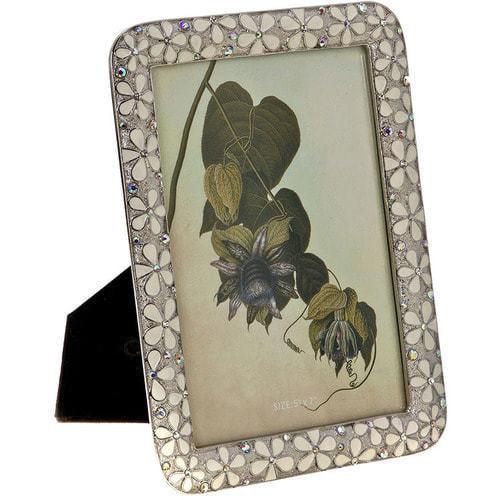 Ювелирная фоторамка с кристаллами. Белые цветы (под фото 13х18 см) (фото)