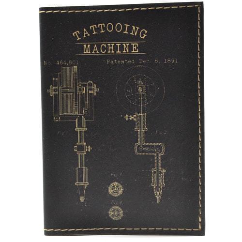 Кожаная обложка на паспорт. Tattooing machine