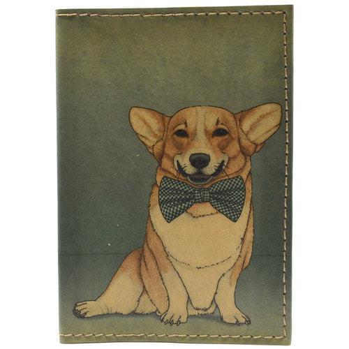 Кожаная обложка на паспорт. Собака с бантом (фото)
