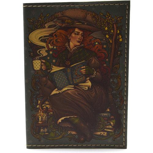 Кожаная обложка на паспорт. Девушка с книгами