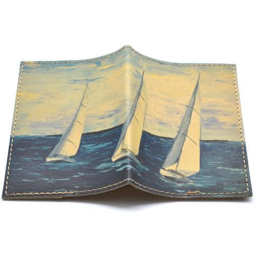 Кожаная обложка на паспорт. Яхты (фото)