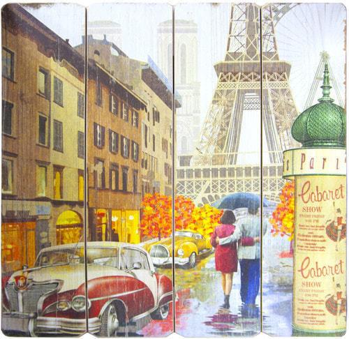 Винтажная деревянная ретро табличка-панно. Париж (40 x 40 см) (фото)