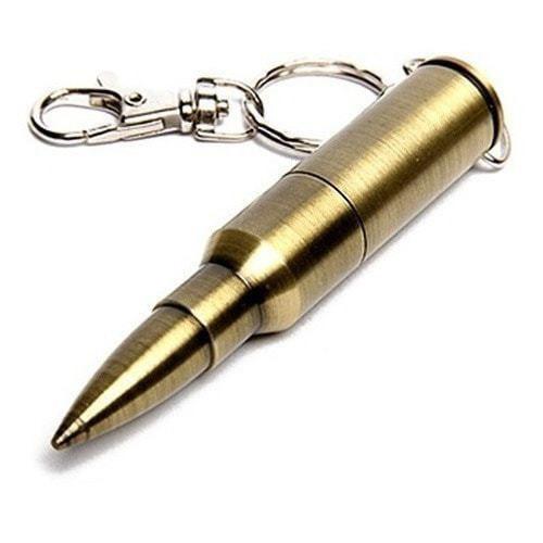 Подарочная металлическая флешка-брелок. Патрон АК-47. Цвет золото (фото)