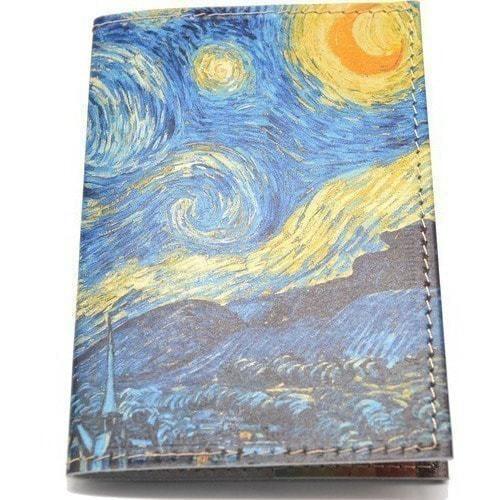 Кожаная обложка на паспорт. Ван Гог. Звездная ночь (фото)