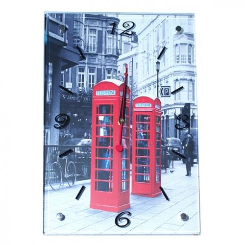 Настенные стеклянные часы. Лондон. Телефонные будки (38 х 26 см)
