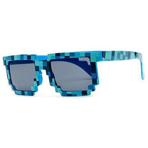 Солнечные пиксельные очки Майнкрафт (синие)