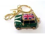 Подарочная металлическая флешка-брелок. Автомобиль Мини Купер зеленый с флагом