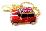 Подарочная металлическая флешка-брелок. Автомобиль Мини Купер красный с флагом
