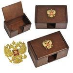 Подарочная деревянная визитница с откидной крышкой. Россия