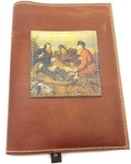 Подарочный ежедневник в кожаной обложке. Охотники на привале (цвет коричневый)