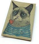 Кожаная обложка на паспорт. Кот-моряк