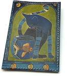 Кожаная обложка на паспорт. Кот с рыбкой