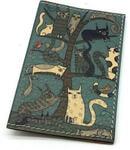 Кожаная обложка на паспорт. Кошки
