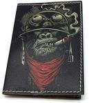 Кожаная обложка на паспорт. Горилла с сигарой