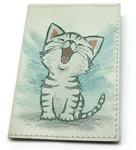 Кожаная обложка на паспорт. Котенок