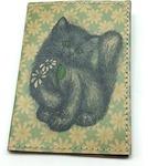 Кожаная обложка на паспорт. Котенок с ромашками