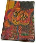 Кожаная обложка на паспорт. Цветной кот