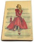 Кожаная обложка на паспорт. Девушка в красном