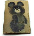 Кожаная обложка на паспорт. Олимпийский Мишка