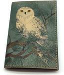 Кожаная обложка на паспорт. Полярная сова