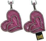 Ювелирная флешка-брелок. Сердце розовое