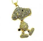 Ювелирная флешка-брелок. Собака со стразами (цвет золото)