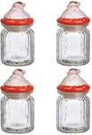 Подарочный набор из 4-х стеклянных баночек для хранения. Дед Мороз