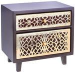 Подарочная деревянная шкатулка-комод. Арт-Деко (винтажное золото) (20x20x15 см)