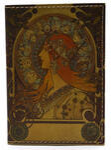 Кожаная обложка на паспорт. Альфонс Муха